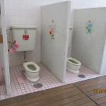 まるでおもちゃのようなミニチュアトイレ。終わったら自分で流します。